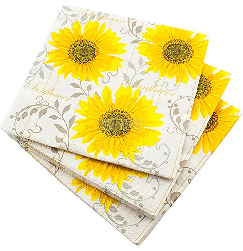 20 LUXURY 3 PLY YELLOW PATTERN SUNFLOWER PAPER NAPKINS- 33cm x 33cm Ideal for weddings, christenings, parties, bbq's etc