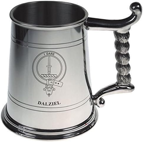Dalziel Crest Tankard con corda manico in peltro 1 lucido 1 peltro Pint Capacity 50b24e