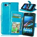 JIALUN-Fall für Sony Sony Z1 Compact Premium PU Leder Tasche, Flip Wallet Case Silikon Abdeckung Volltonfarbe Cover für Sony Z1 Compact Z1 MINI Einfach und stilvoll ( Color : Blue , Size : Sony Z1 Compact )