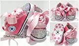 SCARPE SCARPINE STRASS 3-6 MESI BIMBA NEONATA ROSA con CRISTALLI AURORA BOREALE / Baby Shoes Pink Birthday Party Events Wedding Rhinestone Crystal AB Luxury Brillabenny