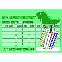 Denny The Dinosaur Personalised Toddlers Reward Chart & Star Stickers, Magnetic option