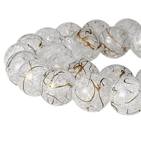 Rubyca rond craquelé druk Cristal Tchèque pressé Perles de verre pour fabrication de bijoux, Mèche, Cristal, Blanc et doré, 6 mm