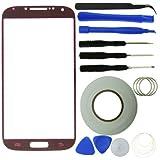 Samsung Galaxy S4 Display Ersatz-Set bestehend aus 1x Austausch Display-Glas für Samsung Galaxy S4 i9500 / 1x Pinzette / 1x Rolle Klebeband 2 mm / 1x Werkzeugsatz / 1x Eco-Fused Mikrofaser Reinigungstuch (rot)