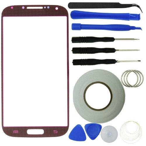 Samsung Galaxy S4 Display Ersatz-Set bestehend aus 1x Austausch Display-Glas für Samsung Galaxy S4 i9500 / 1x Pinzette / 1x Rolle Klebeband 2 mm / 1x Werkzeugsatz / 1x Eco-Fused Mikrofaser Reinigungstuch (rot) (Rote Galaxy S3 Bildschirm Ersatz)