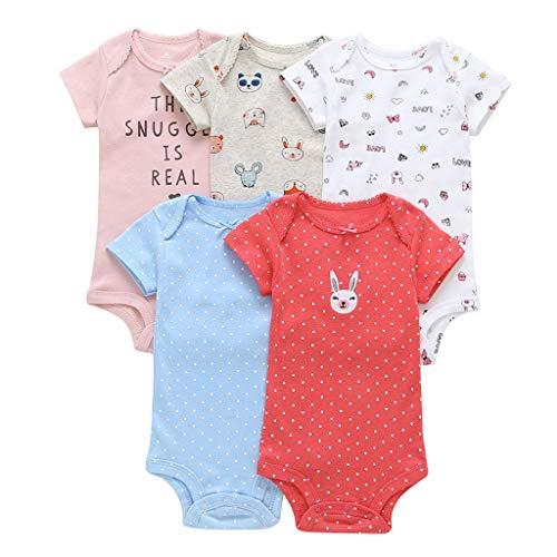 Livoral Madchen Kleider festlich 5pc Neugeborenes Baby Boy Bunny Brief Dot Print Strampler Bodysuit Sunsuit(Mehrfarbig,9M)