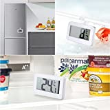 Prosmart - Refrigerator Thermometer, Digital Thermometer For Freezer And Refrigerator With Big Lcd Screen, Compact Size, Magnetic Back Hanging Hook And Retractable Stand