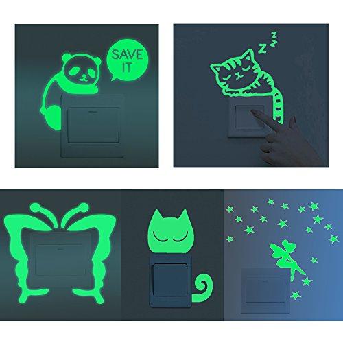 (shilipai Fluoreszierende Schalter Aufkleber Glow in The Dark Wand Aufkleber Kinder Baby Zimmer Aufkleber Home Dekoration 5pcs S001)