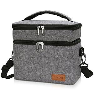 Lifewit Kühltasche klein isoliert Lunchtasche für Aufbewahrung mit zwei Fächern von Essen Lebensmittel Mittagessen, Brotzeittasche verstellbarer Schultergurt für Büro / Schule / Picknick / Fitness, 9L, Grau