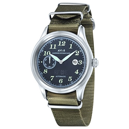 AVI-8 AV-4017-04 Mens Hawker Hurricane Army Green Nylon NATO Strap Watch