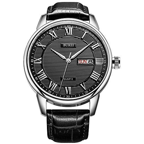 BUREI Herren Klassische Quarz Armbanduhr mit Datumsanzeige römischen Ziffer Textur Design und weichem Lederband
