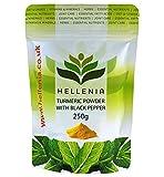 Hellenia Kurkuma Pulver mit schwarzem Pfeffer Extrakt - 250g - Natürliche Quelle von Curcumin