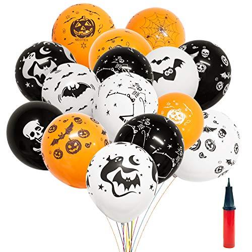 YHmall 1 100 Halloween Party Deko Luftballons mit Ballonpump - 12 Grusel Horror Muster schwarz orange weiß STK.