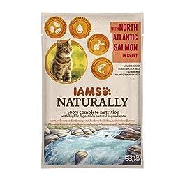 Iams Naturally Alimento Umido per Gatti Adulti al Gusto Salmone – 24 x 85 g