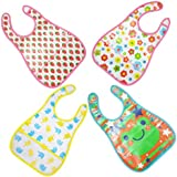 My Newborn Baby Waterproof Aprons Bibs With Pocket Pack Of 4 Pcs