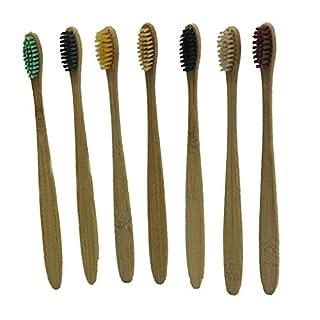 Kongnijiwa Natural Simple Disposable Toothbrushes Bamboo Handle Tooth Brush Nylon Bristles Toothbrush for Hotel Travel Voyage