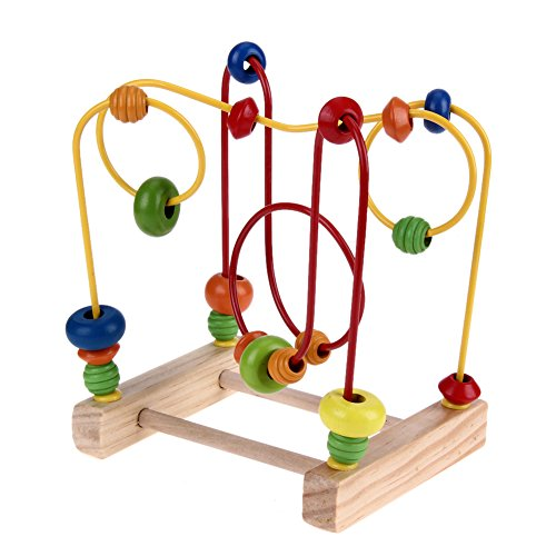 Sunsoar Wooden Toys Baby Math Toys Colorful Mini Around Beads Wire Maze Educational Birthday Chriamas New Year Gift Puzzle Education Learning