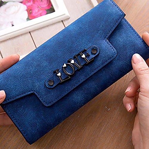 Portafoglio Donna, Tpulling Sacchetto di telefono multifunzionale della borsa della borsa del raccoglitore della borsa di cuoio delle donne (Dark Blue) Dark Blue