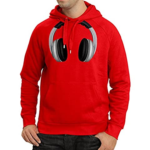 Hoodie Cool Headphones Around The Neck Music Rock And Roll DJ Clothes (Small Red Multi Color)