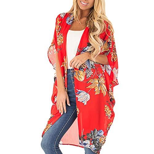 Fenverk Damen Bikinikleid Strandkleid Sommer Cover Up Boho Strand Kimono Florale Tops Cardigan Chiffon Shawl Bluse Beachwear Bikini Leichte Jacke Oberteil(rot -02,S)