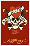 Ed Hardy Poster und Kunststoff-Rahmen - Love Kills Slowly, Liebe Tötet Langsam Rot (91 x 61cm)