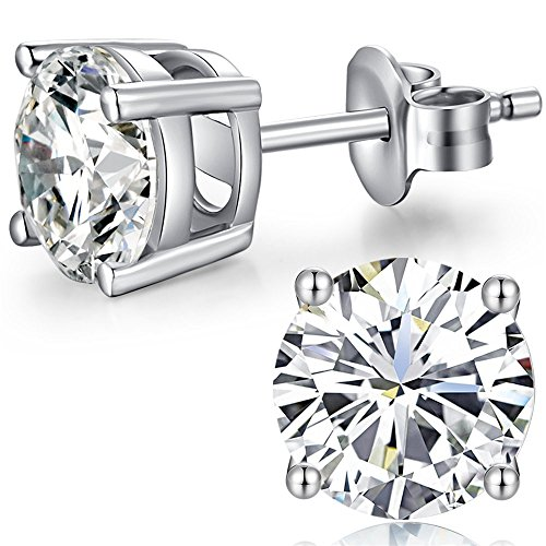 Jiahanzb Pendientes Plata Esterlina Diamantes, Corte