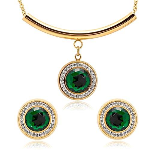 Beydodo Juegos de Joyas Collar Colgante y Pendientes de Mujer Acero Inoxidable Redonda Circonita Oro Verde