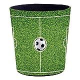 TETAKE Papierkorb Kinder mit Motiv Fußballfeld, 10L Papierkörbe Kinderzimmer aus Leder, Wasserdicht, ohne Deckel