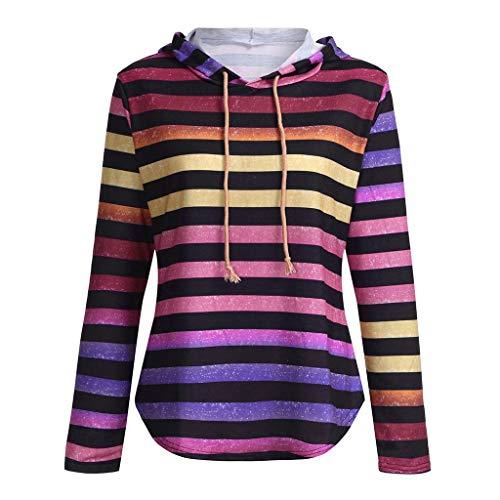 HuaMore Frauen Stripe Langarm-Kapuzenshirt Kapuzenpullover Tops Bluse (Puffa Coat Frauen)