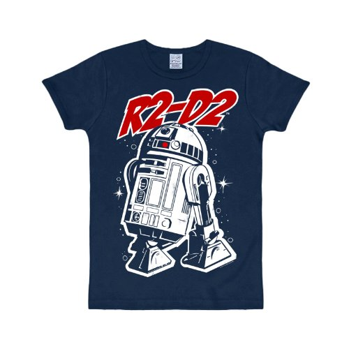 hirt R2-D2 Droide sehr hochwertig großer Frontdruck Baumwolleolle navy - 104/116 (Han Und Leia Kinder)