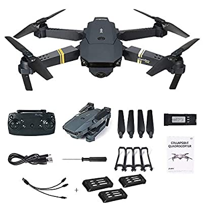 squarex E58 2.0MP 720P Camera Wifi FPV Live Video Mobile App Control Foldable Drone Selfie Pocket RC Quadcopter Helicopter RTF + 1 Cable & 3 Batteries, Easy to Fly for Beginners