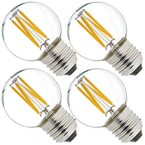 Vintage & # X2162; dimmbar 4W G45E27SES LED Filament Mini Globe Glühlampe Tag weiß 6000K Entspricht 40W Glühlampe Edison Schraube E27LED Antik klar Golf Ball 4Stück - 40w Klar Globe