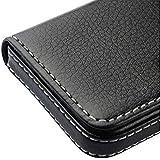 AlexVyan Pocket Sized Stitched Leather Case Card Holder - Black