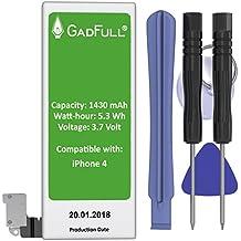 GadFull® Batería para iPhone 4 con Herramientas   Fecha de fabricación del 2017   Incluye kit de herramientas profesional de reparación manual   Funciona con todos los APN originales