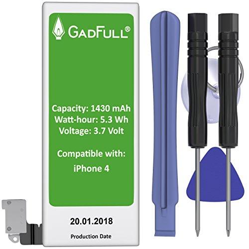 GadFull® Batería para iPhone 4 con Herramientas | Fecha de fabricación del 2017 | Incluye kit de herramientas profesional de reparación manual | Funciona con todos los APN originales