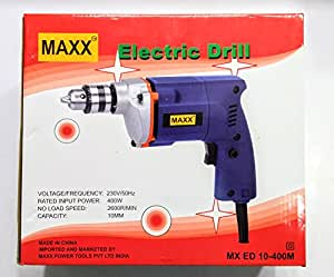 Electrical Power Maxx 400W 10mm High Power Drill Machine Blue Drilling Wall Concrete Wood With 13Pc Drill Set & 5Pc Masonary Drill Bit Set