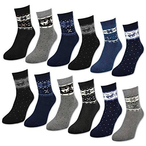 6 oder 12 Paar Damen THERMO Socken mit Innenfrottee Winter Damensocken - D-27 (Farbmix | 39-42, 12 Paar)