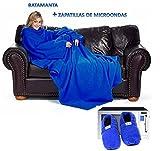 Batamanta manta para sofa con mangas, con bolsillo y zapatillas de microondas │ Pijama Bata manta Azul y zapatillas calientes ®
