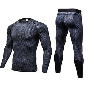 Etbotu Männer Compression Set Sport Atmungsaktiv Schnell Trocknend Komfortable Fitness Anzug Langarm Shirt + Lange Hosen Fitness Workout Strumpfhosen