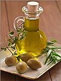 Posterlounge Leinwandbild 100 x 130 cm: Olivenöl und Oliven von Edith Albuschat - fertiges Wandbild, Bild auf Keilrahmen, Fertigbild auf echter Leinwand, Leinwanddruck