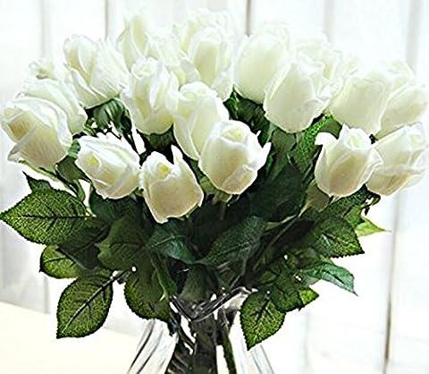 Yidarton 10 PCS Neue Schöne Echtes Moisturizing Curling Knospe Latex künstliche Rose Kunstblumen Blume für Heim Hochzeit Partei Wohnzimmer Dekoration Blumenstrauß Blumenarrangement (Weiss)