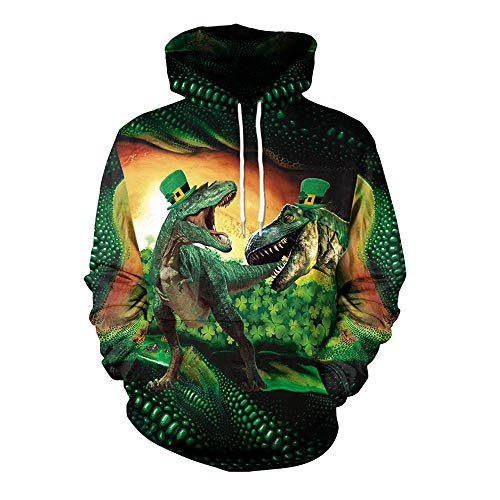 St Tag Kostüm Patricks - ZGDGG St.Patrick's Day Irish Green, Erwachsene Kobold Kostüm Kostüm, St. Patricks Tag Kostüm Dinosaurier grünen Zylinder,XXL