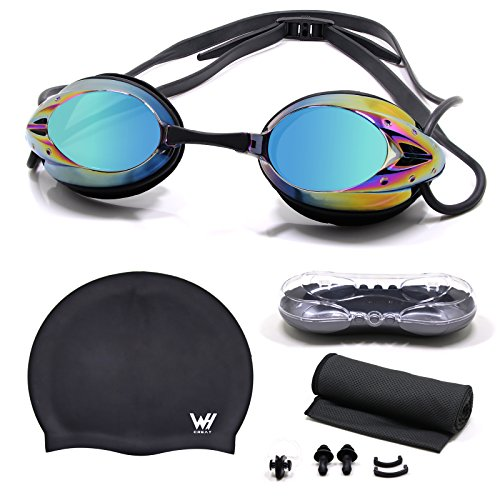 WHCREAT Schwimmbrille Set, KeinAuslaufen Taucherbrille mit Antibeschlag UV-Schutz Spiegel Objektiv für Männer, Frauen und Kinder 10+