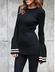 Erica Femme Manches Evasées Normal Pullover Sortie Décontracté/Quotidien Vacances simple Chic de Rue,Couleur Pleine Noir Col Arrondi Manches Longues