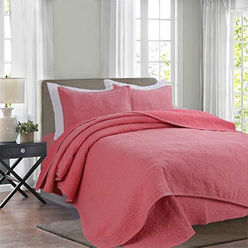 MALLTY DREI Stücke auf dem Bett aus Reiner Baumwolle gestrickter Baumwolle Reine Farbe bestickte Steppdecke DREI Stück Anzug für den Heimgebrauch (Color : Red, Size : 230 * 250CM) (Bestickte Bett-satz)