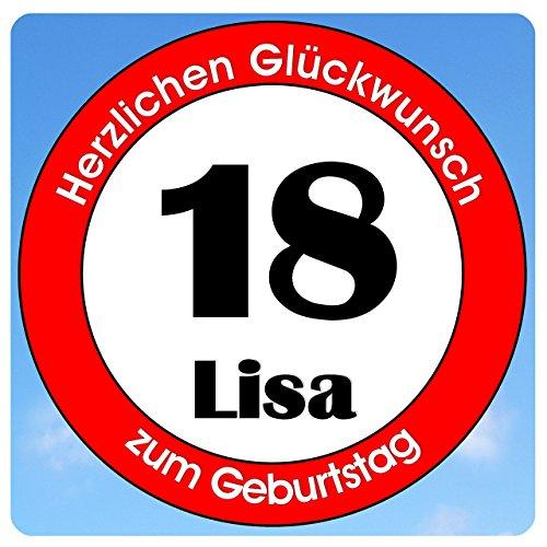 bedrucktes Aluschild 305 x 305 mm - Motiv Geburtstag 18 mit Wunschnamen und Wunschalter