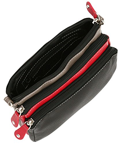Felda - borsa donna da viaggio con tracolla - vera pelle - nero nero multi