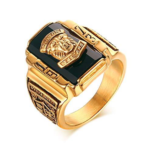 OIDEA Edelstahl Tiger Ringe Silber für Herren Damen, Klassiker Retro Charm 1973 Walton Tiger Kopf Stein Herrenring Edelstahlring Bandring Gold