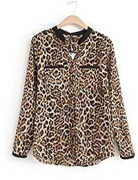 Cinnamou mujeres Camisetas y tops Leopardo Impresión, Trajes y blazers Gasa de manga larga Blusas