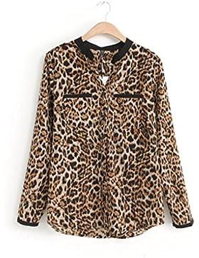 Cinnamou mujeres Camisetas y tops Leopardo Impresión, Trajes y blazers Gasa de manga larga Blusas casuales de...