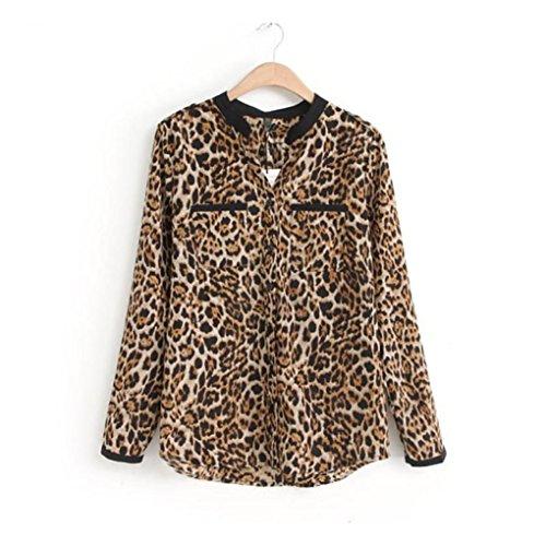 Cinnamou-Mujer Camisetas Tops Leopardo Impresión